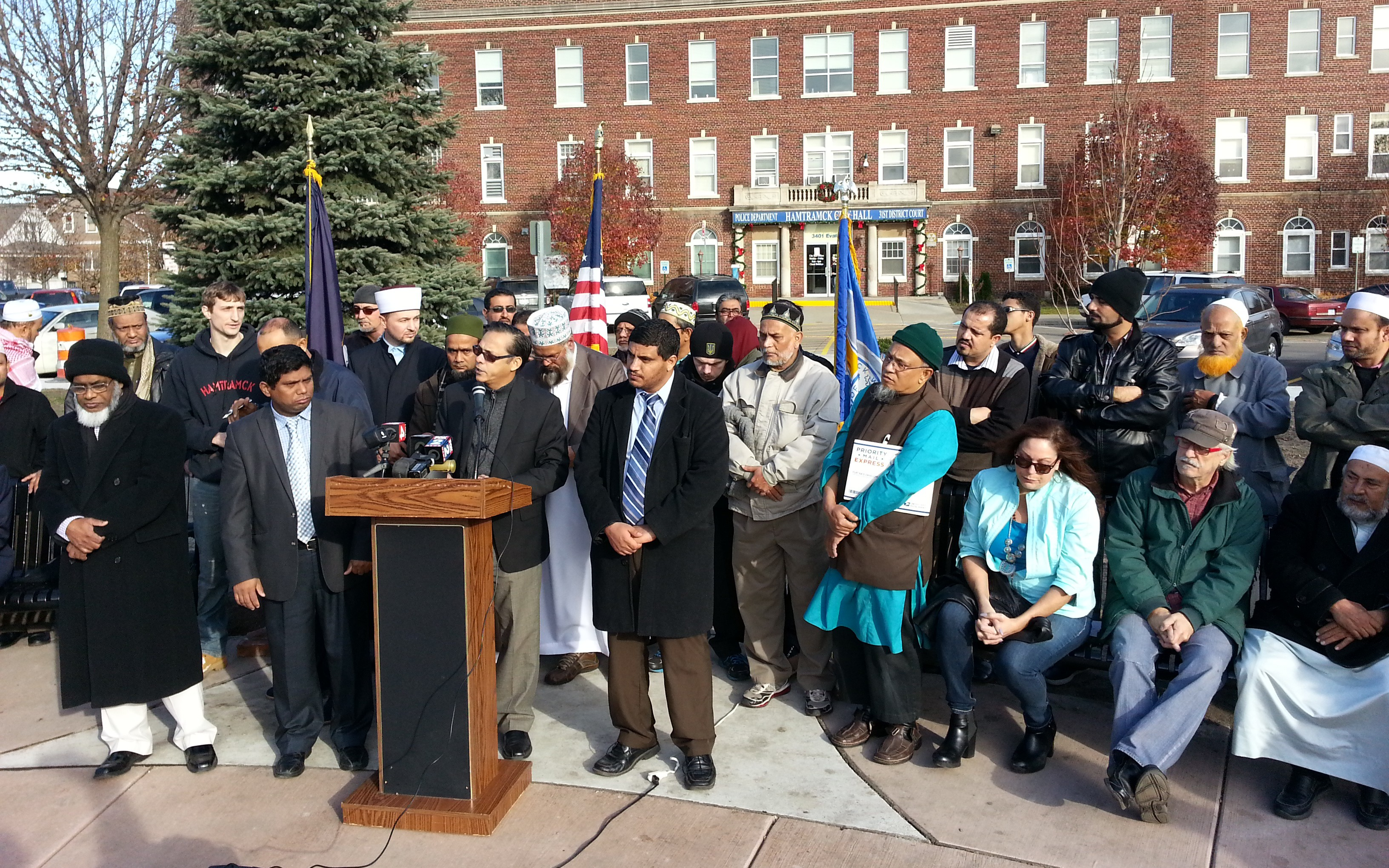 Residents of the greater Hamtramck area gather to speak out against ISIS. (credit: Jon Hewett)