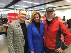 """Rod Alberts, CBS62 """"Michigan Matters"""" Senior Producer/Host Carol Cain, and Dave Madeira, rode in the three iconic Detroit vehicles that were the stars of the fascinating 3,000 cross country road rally which concluded Friday. (Photo/CBS62's Tim Sargent)"""
