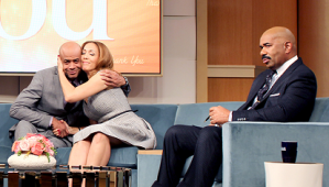 """L to R, Christine Beatty thanks her ex-husband Lou Beatty for helping her to get through a tough time, on Tuesday's episode of """"Steve Harvey."""" (credit: Tegan Kinane/NBC)"""