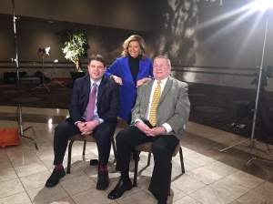 """Brandon Dillon, chairman of the Michigan Democratic Party, """"Michigan Matters"""" Senior Producer/Host Carol Cain, and Oakland County Executive L. Brooks Patterson discuss Tuesday primary and the Flint water crisis. (credit: Ken Bryant/CBS 62)"""