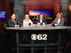 """Oakland County Sheriff Mike Bouchard, Denise Ilitch and Robert Ficano join Carol Cain on the """"Michigan Matters"""" roundtable to discuss prospect of more Syrian refugees coming into Michigan and other things including the Detroit Tigers. (credit: Derek Fawaz/CBS 62)"""