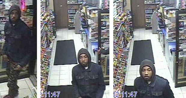 Suspect 1 is seen in security photos. Suspect 2 remained in the car. (credit: Lincoln Park Police Department)