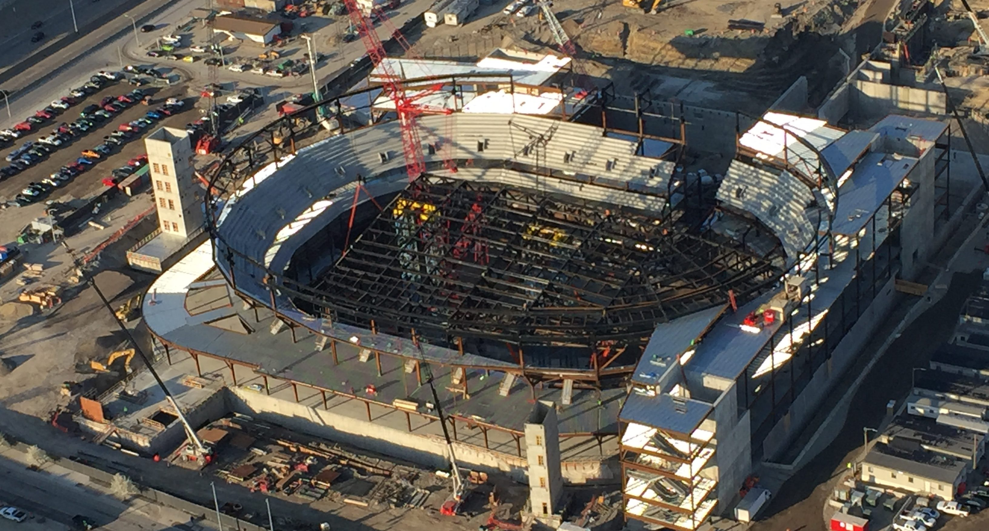 Work continues on the new Red Wings arena in downtown Detroit. (credit: Bill Szumanski/WWJ)