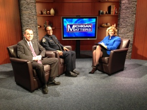 Tim Richey, CEO of Detroit PAL, and Commander Todd Bettison, of the Detroit Police Department, appear with Carol Cain to discuss ways to help young people in the Motor City. (credit: Derek Fawaz/CBS 62)