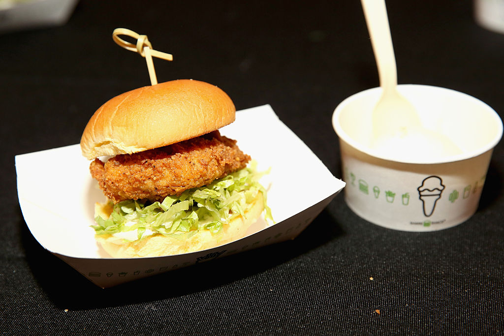 Detail of Shake Shack Chicken, with Pecan Pie Frozen Custard. (Photo by Monica Schipper/Getty Images for NYCWFF)