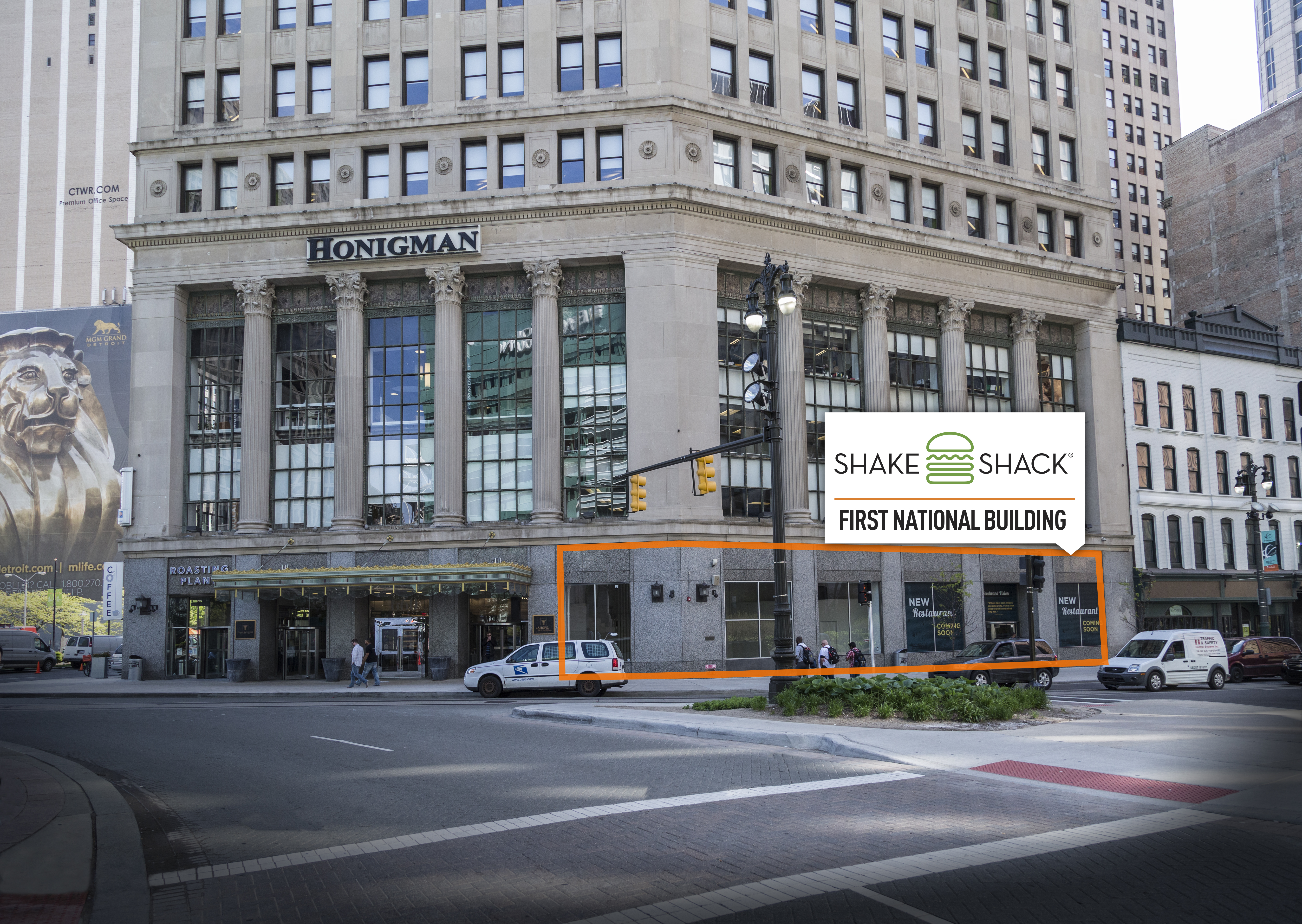 A rendering shows Shake Shack's upcoming location in Detroit. (credit: Bedrock Detroit)