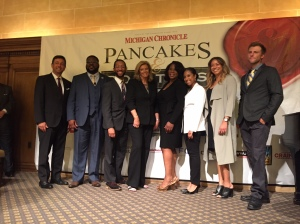 """Tom Canedo, Rev. Charles Williams, Eric Thomas, Carol Cain, Cathy Nedd, Tatiana Grant, Katherine Cockrel and Tyson Gersh at the Michigan Chronicle's """"Pancakes and Politics"""" forum. t will air as a CBS62 """"Michigan Matters"""" episode 11:30 am this Sunday. (credit: Ken Bryant/CBS 62)"""