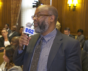 Keith Owens, Senior Editor, Michigan Chronicle, asks a question of the panel. (credit: Keith Owens/CBS 62)