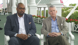 """Detroit 67 Project Director Marlowe Stoudamire and PNC Regional President Ric DeVore appear on """"Michigan Matters"""" 11:30 Sunday on CBS 62 to discuss the new project. (credit: Paul Pytlowany/CBS 62)"""