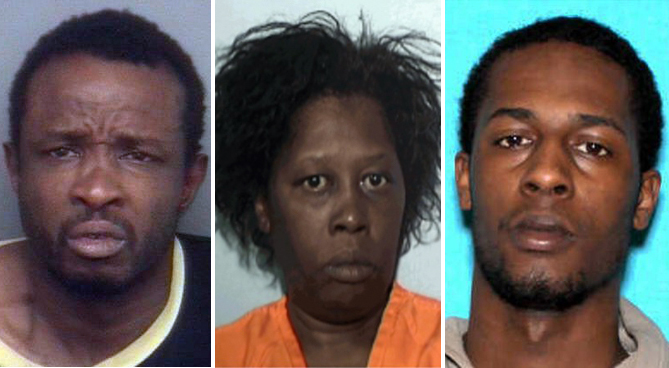 Gregory Walker at left; Lillian Roberts, center and Earnest Coleman. (Booking photos)