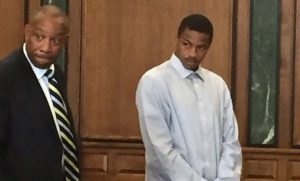 Keith Appling, right, stands with his attorney in 19th District Court. (credit: Laura Bonnell/WWJ)