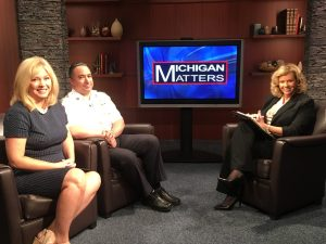 State Senator Tonya Schuitmaker and Sean Larkins from the Detroit Fire Department with Michigan Matters host Carol Cain. (credit: Remi Murrey, CBS 62/CW50)