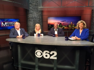 "L. Brooks Patterson, Denise Ilitch, Keith Owens with host Carol Cain talk about the presidential contest , the regional transit tax millage that voters will be asked to decide on this week's ""Michigan Matters"" Watch Michigan Matters 11:30 Sunday on CBS 62. (credit: Zuri Cheathem/CBS 62)"