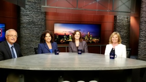 "From left-David Cole, Andra Rush, Susan Smyth and Beth Chappell talk about Manufacturing Day and young people on CBS 62's ""Michigan Matters."" (credit: JuWan Graham/CBS 62)"