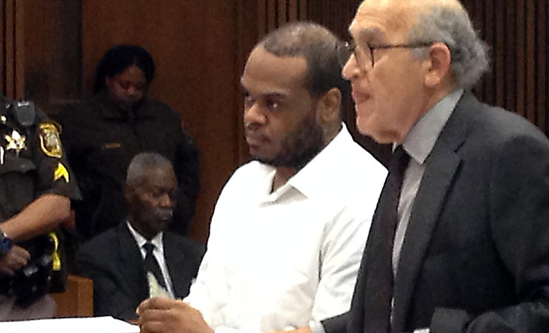 Maxwell Brack is seen at left, with his attorney, at his sentencing. (credit: Ron Dewey/WWJ)