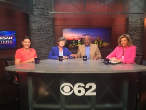 """Lena Epstein, Kelly Rossman-McKinney, Charlie Beckham,host Carol Cain on CBS 62's """"Michigan Matters"""" talk about Trump in Detrout and this unique presidential rqace. (credit: CBS 62/CW50 JuWan Graham)"""