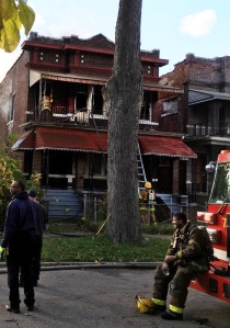 Detroit firefighters at the scene of an early morning blaze. (WWJ/Charlie Langton)