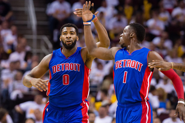 Andre Drummond #0 celebrates with Reggie Jackson #1 of the Detroit Pistons during the second half of the NBA Eastern Conference quarterfinals against the Cleveland Cavaliers at Quicken Loans Arena on April 17, 2016 in Cleveland, Ohio. The Cavaliers defeated the Pistons 106-101.