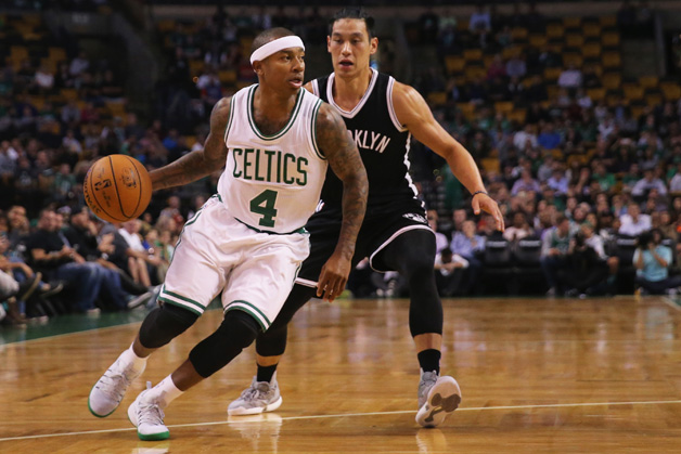 Jeremy Lin #7 of the Brooklyn Nets defends Isaiah Thomas #4 of the Boston Celtics during the first quarter of the preseason game at TD Garden on October 17, 2016 in Boston, Massachusetts.