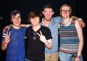 RSR! band members, Kyle Baker, David Orzel, Ryan Tikey and Mitch Crosby after a show. Photo courtesy of Lynette Tikey-Shamus.