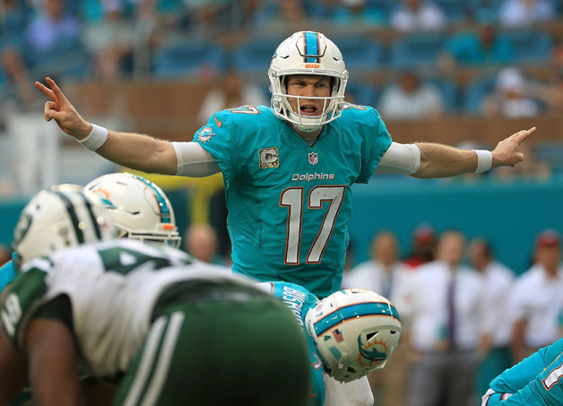Ryan Tannehill #17 of the Miami Dolphins calls a play during a game against the New York Jets at Hard Rock Stadium on November 6, 2016 in Miami Gardens, Florida.