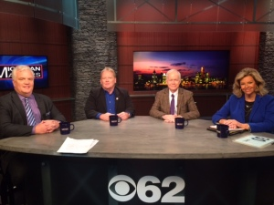 MICHauto Executive Director Glenn Stevens, Detroit Free Press Auto Critic Mark Phelan and Autoline/WWJ Newsradio 950 analyst John McElroy with Carol Cain discuss the auto industry in the new Trump administration. (credit: Alexis Tesner/CBS 62)