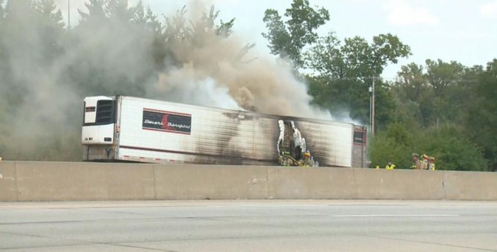 Truck Carrying 72,000 Pounds Of Chocolate Catches Fire On Interstate