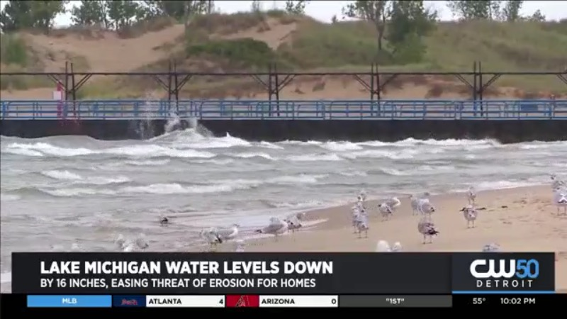 Lake Michigan Water Levels Down By 16 Inches Over The Last Year