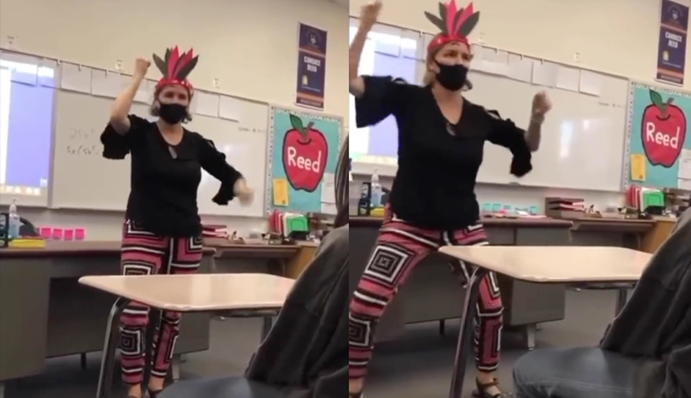 Teacher On Leave After Video Shows Her Wearing Headdress, Doing 'Tomahawk Chops' In Class